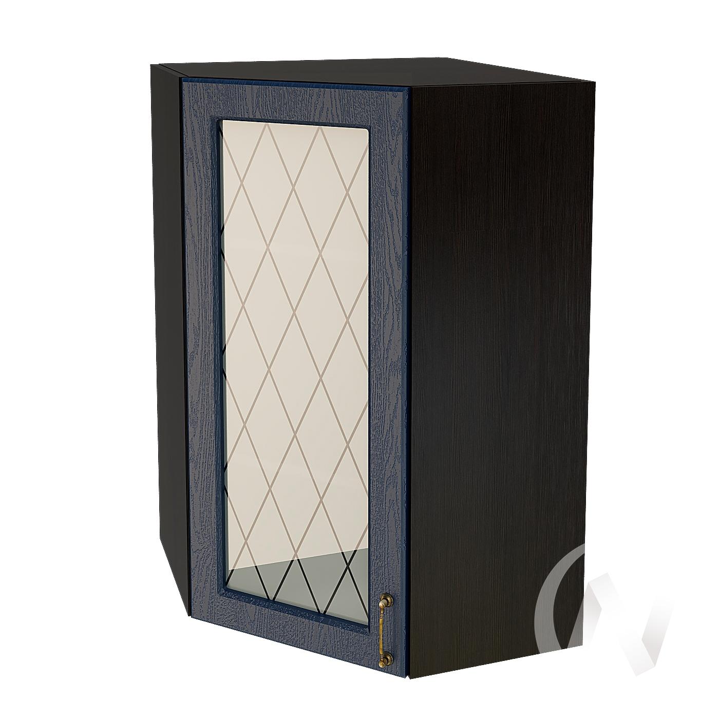 """Кухня """"Ницца"""": Шкаф верхний угловой со стеклом 599, ШВУС 599 (Дуб чернильный/корпус венге)"""