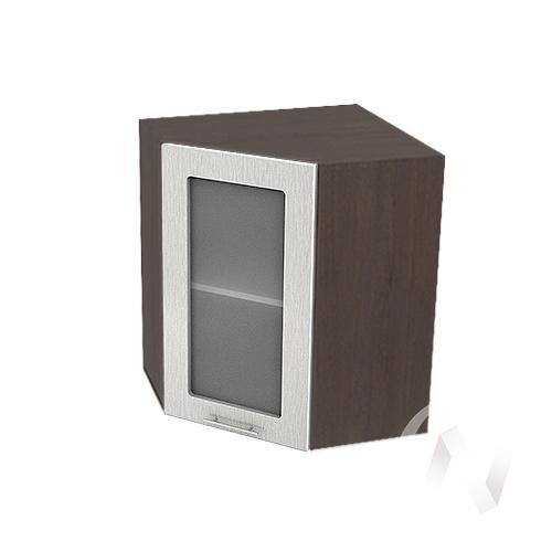 """Кухня """"Валерия-М"""": Шкаф верхний угловой со стеклом 590, ШВУС 590 (дождь серый/корпус венге)"""