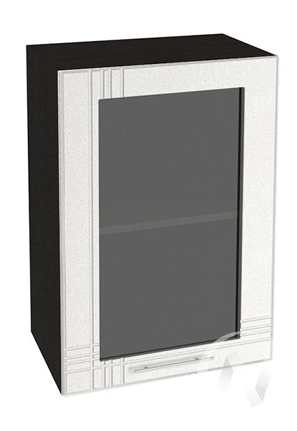 """Кухня """"Струна"""": Шкаф верхний со стеклом 500, ШВС 500 (белый металлик/корпус венге)"""