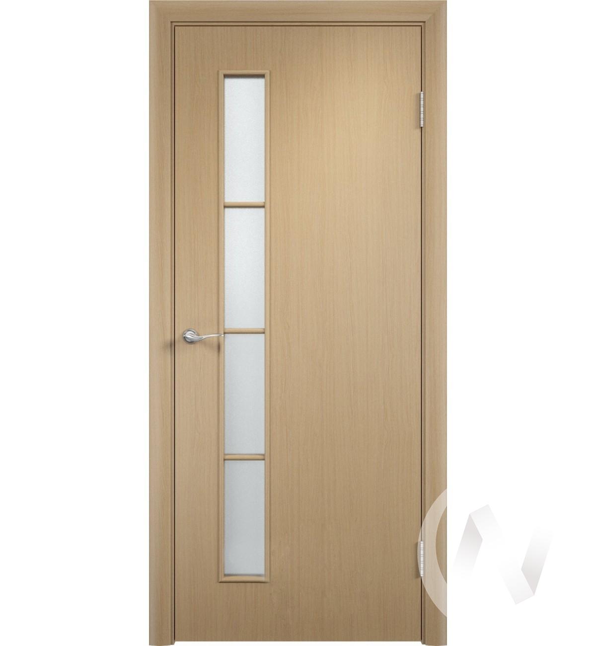 """Дверь ламинированная Тип """"Вертикаль"""", 60, ост,беленый дуб, стекло матовое"""