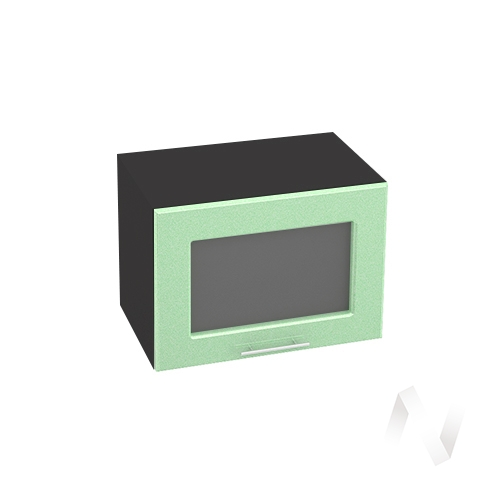 """Кухня """"Вега"""": Шкаф верхний горизонтальный со стеклом 500, ШВГС 500 (салатовый металлик/корпус венге)"""