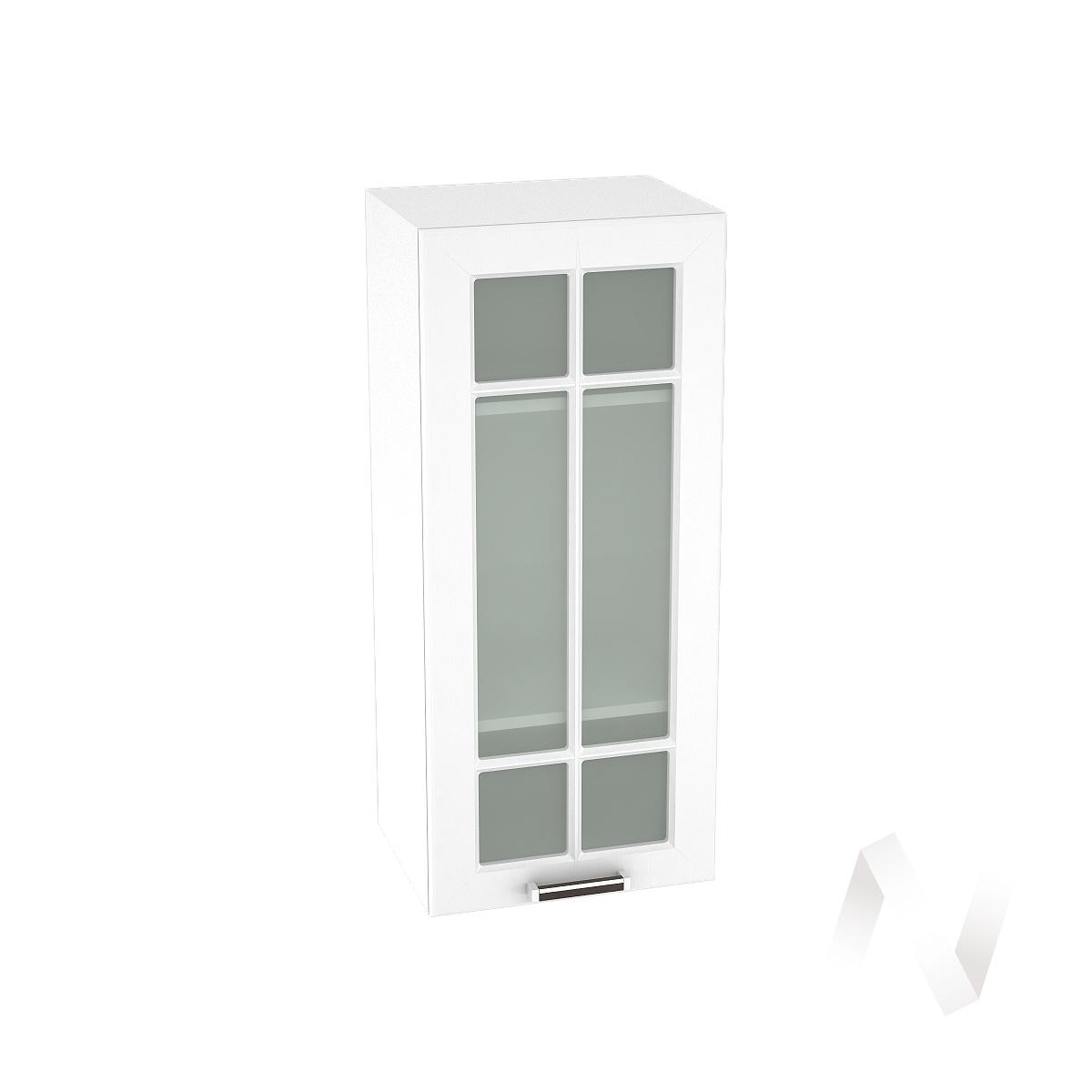 """Кухня """"Прага"""": Шкаф верхний со стеклом 409, ШВС 409 (белое дерево/корпус белый)"""