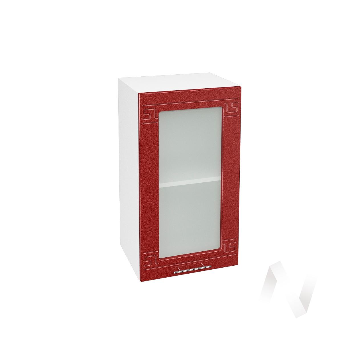 """Кухня """"Греция"""": Шкаф верхний со стеклом 400, ШВС 400 (гранатовый металлик/корпус белый)"""