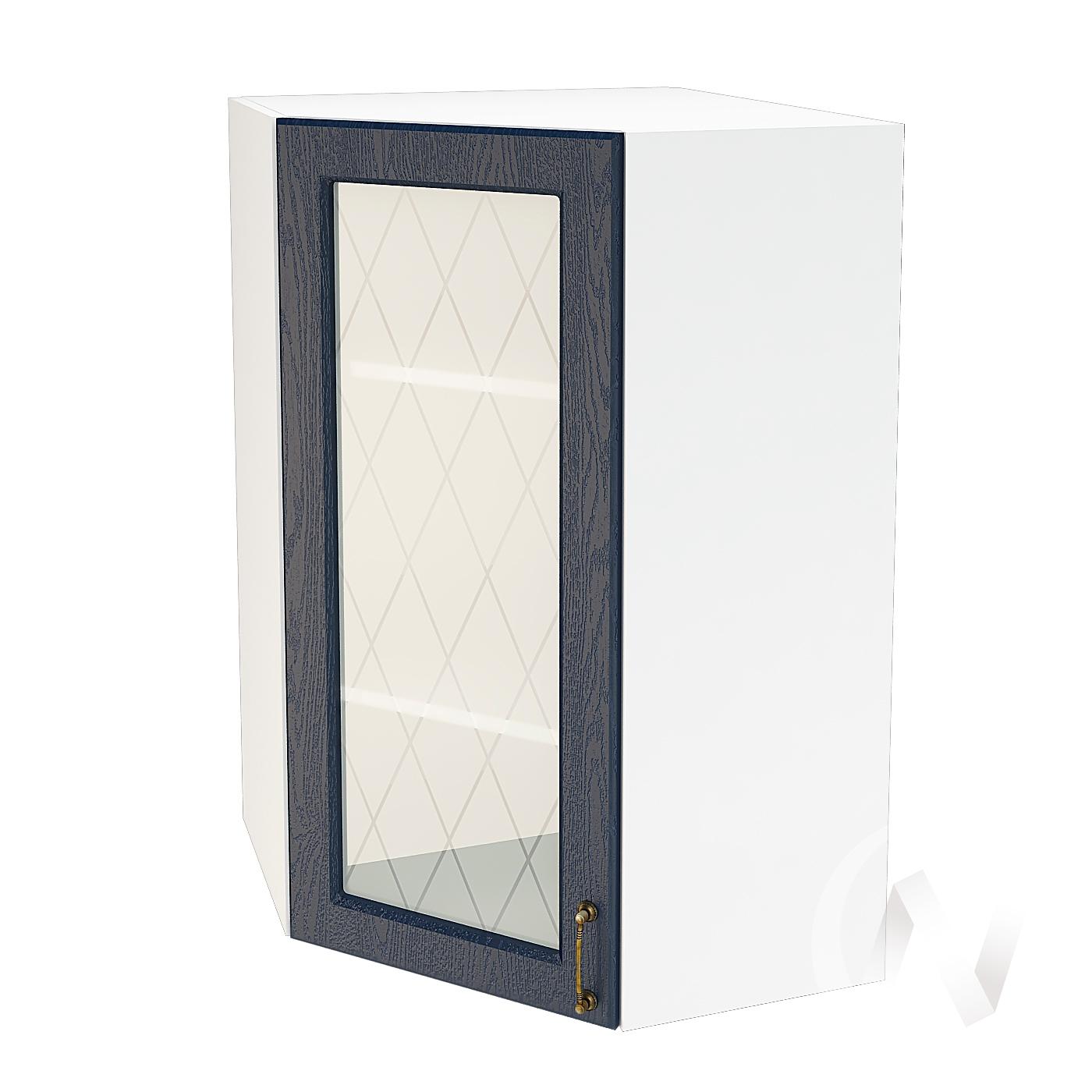 """Кухня """"Ницца"""": Шкаф верхний угловой со стеклом 599, ШВУС 599 (Дуб чернильный/корпус белый)"""