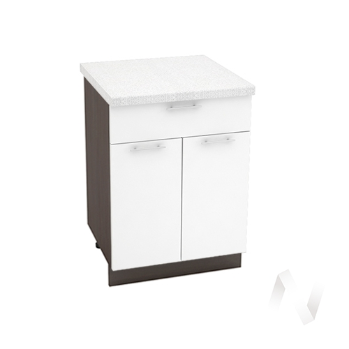 """Кухня """"Валерия-М"""": Шкаф нижний с ящиком 600, ШН1Я 600 М (белый глянец/корпус венге)"""