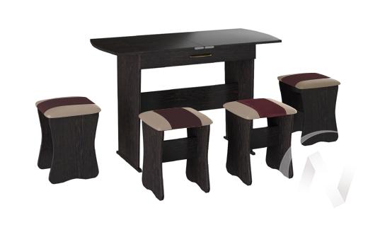 Обеденная группа тип 2 кожзам (венге/шоколад,бежевый)  в Томске — интернет магазин МИРА-мебель