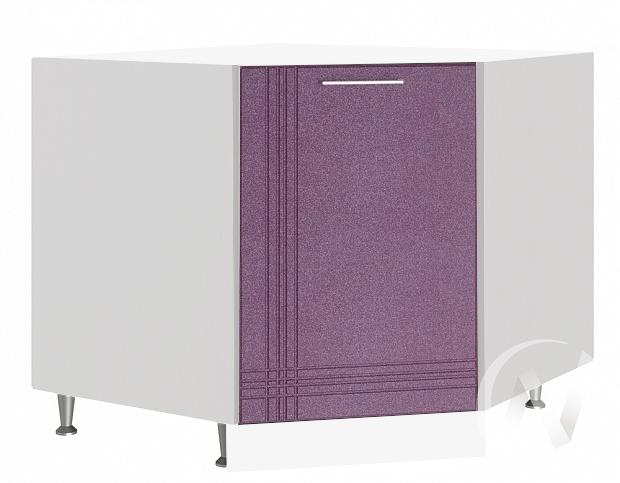 """Кухня """"Струна"""": Шкаф нижний угловой 890, ШНУ 890 (фиолетовый металлик/корпус белый)"""
