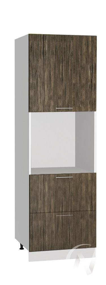 """Кухня """"Норден"""": Шкаф пенал с 2-мя ящиками 600, ШП2Я 600 (старое дерево/корпус белый)"""