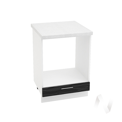 "Кухня ""Валерия-М"": Шкаф нижний под духовку 600, ШНД 600 (Страйп черный/корпус белый)"