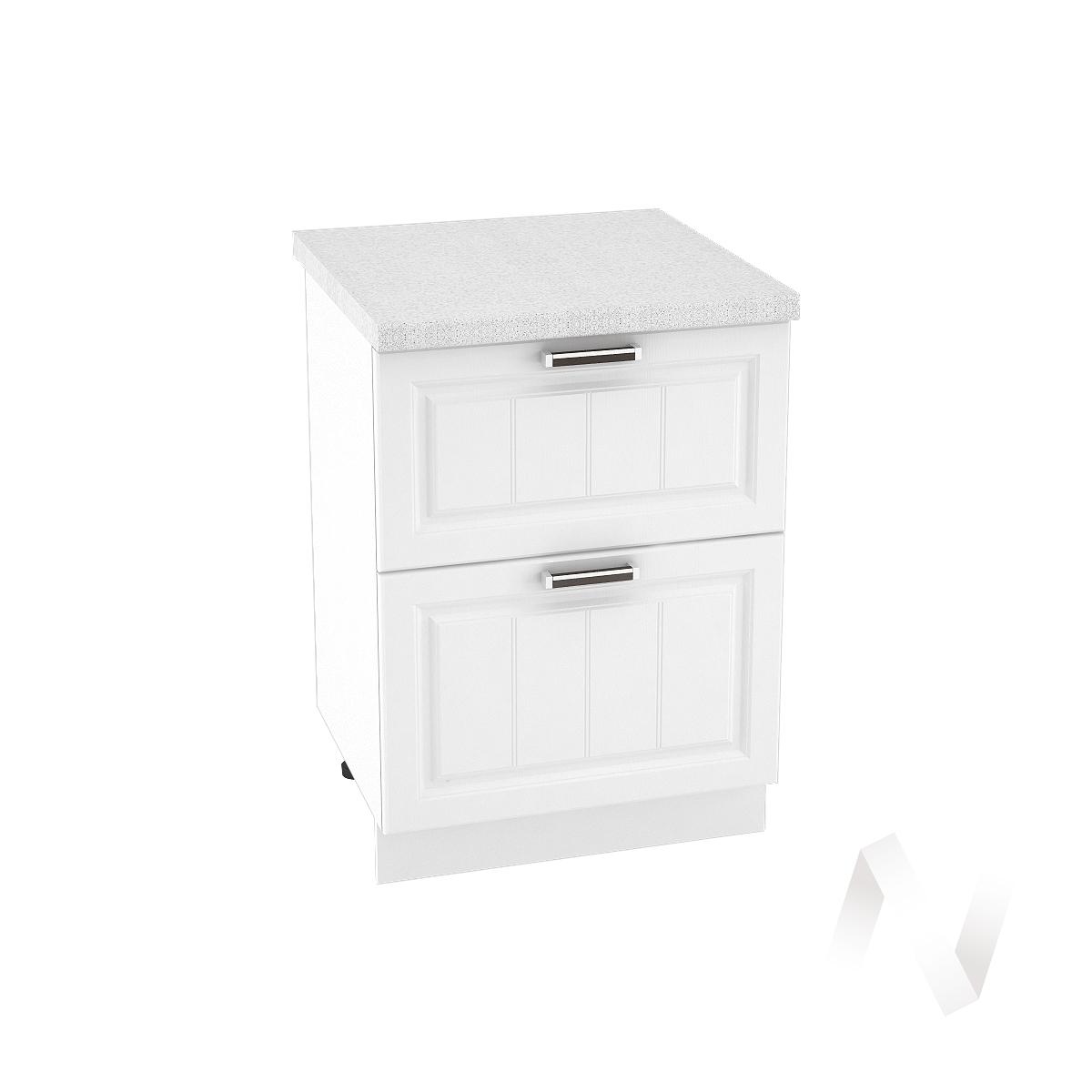 """Кухня """"Прага"""": Шкаф нижний с 2-мя ящиками 600, ШН2Я 600 (белое дерево/корпус белый)"""