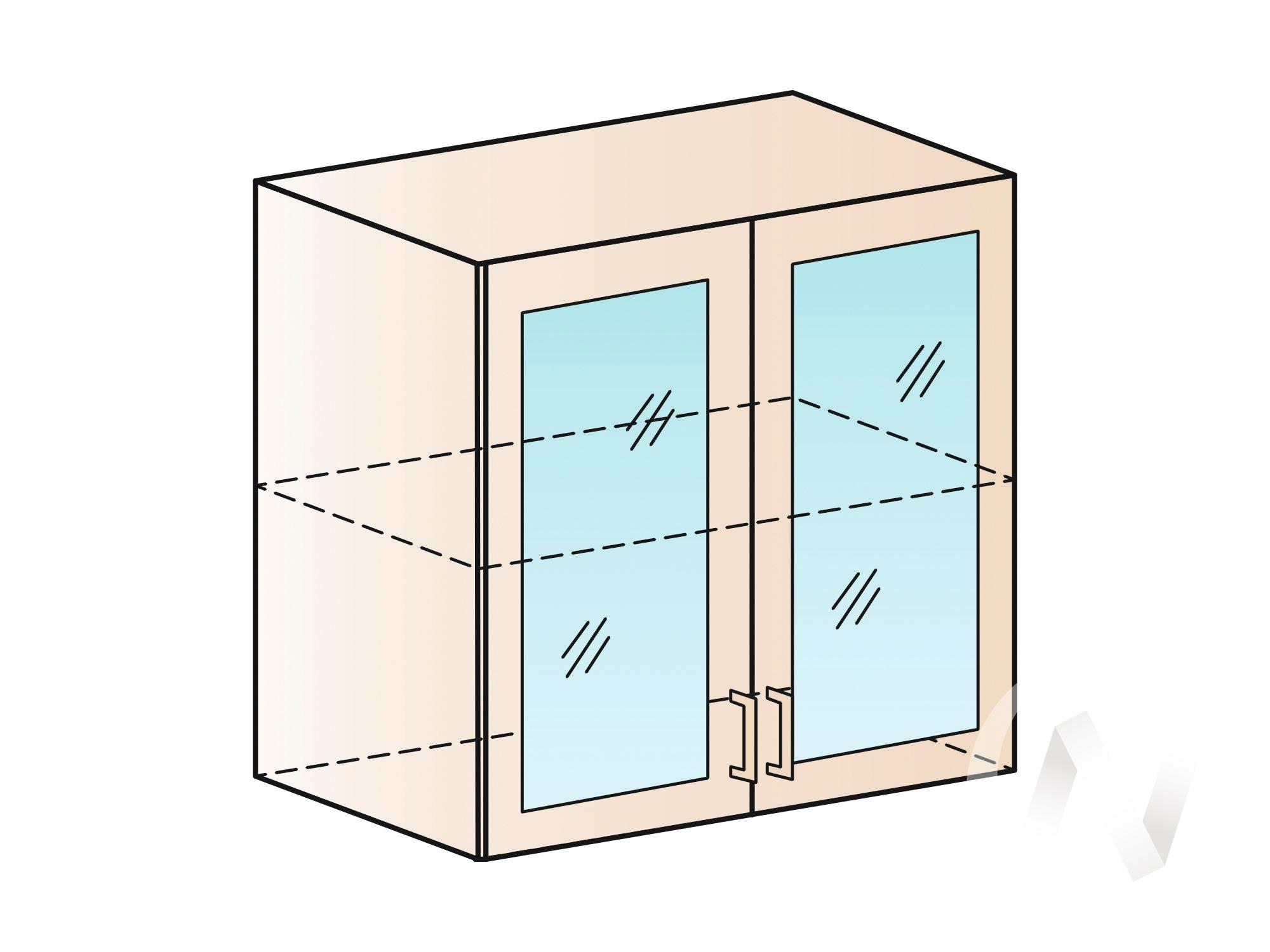 """Кухня """"Валерия-М"""": Шкаф верхний со стеклом 800, ШВС 800 (белый металлик/корпус венге)"""
