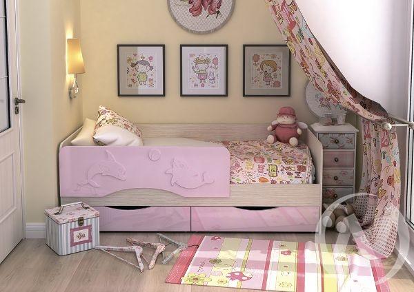 """Кровать """"Алиса 1,4"""" (Розовый маталлик)"""