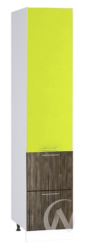 """Кухня """"Норден"""": Шкаф пенал с 2-мя ящиками 400, ШП2Я 400 (старое дерево/лайм глянец/корпус белый)"""
