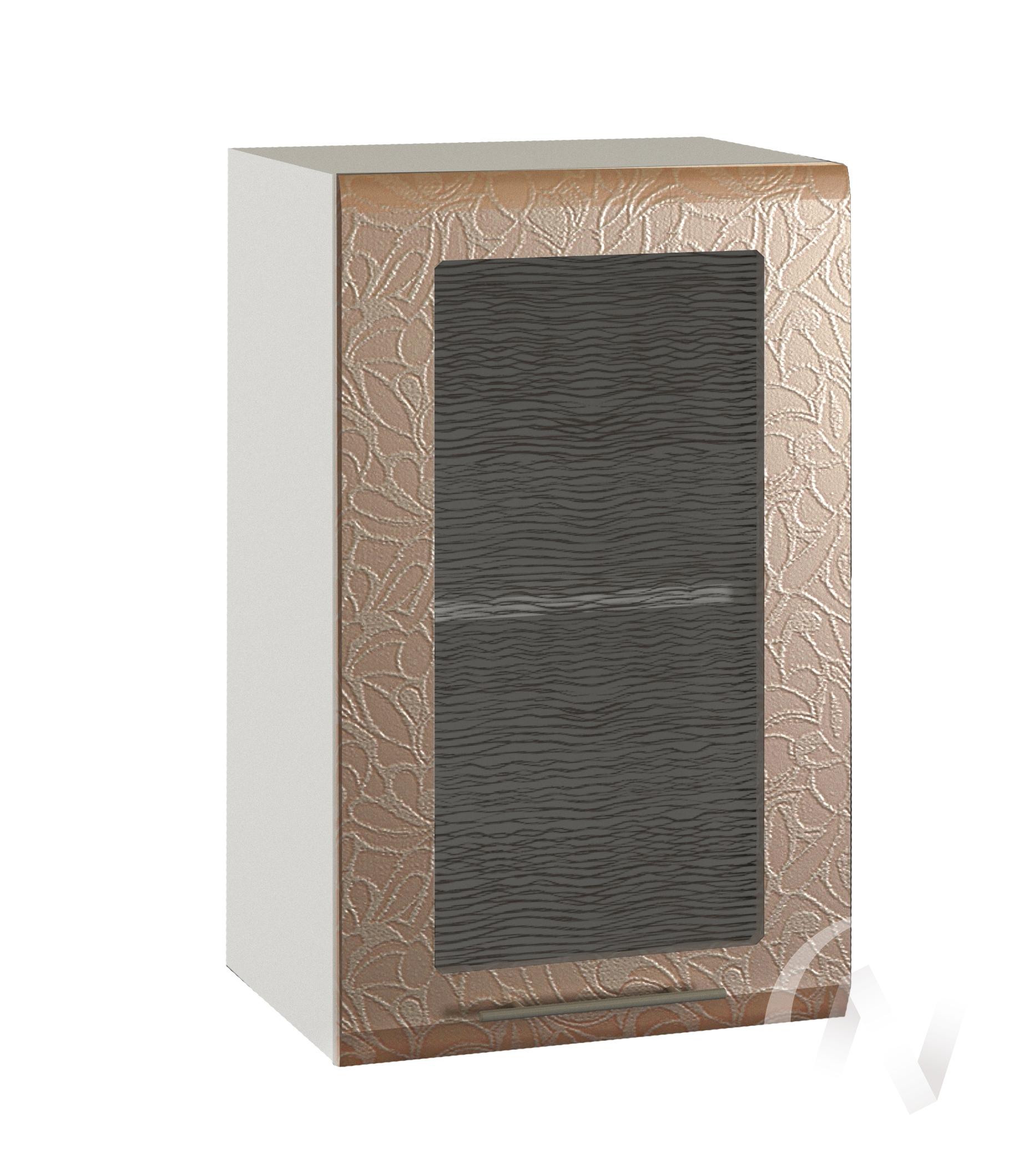 "Кухня ""Люкс"": Шкаф верхний со стеклом 400, ШВС 400 (Гобелен шампань/корпус белый)"
