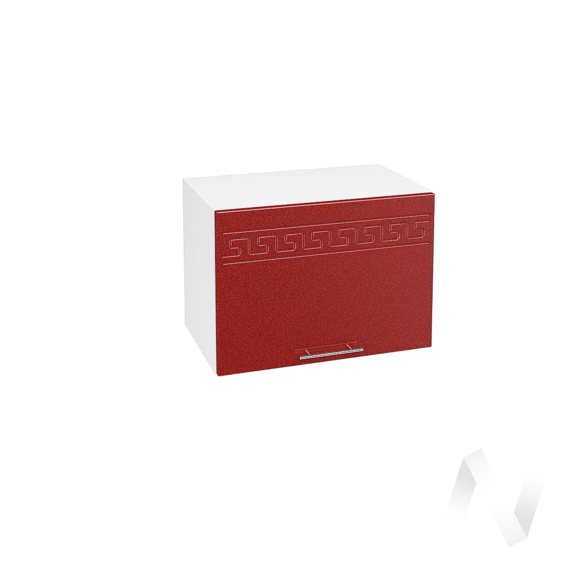 """Кухня """"Греция"""": Шкаф верхний горизонтальный 500, ШВГ 500 (гранатовый металлик/корпус белый)"""