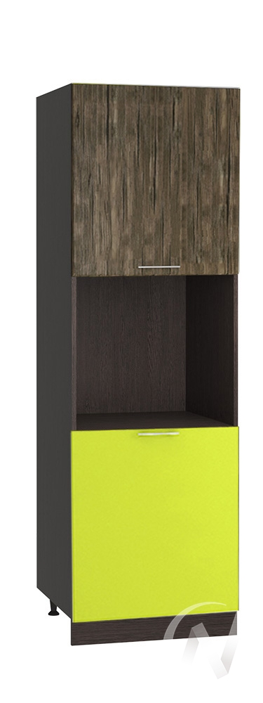 "(1)Кухня ""Норден"": Шкаф пенал 600, ШП 600 (старое дерево/лайм глянец/корпус венге)"
