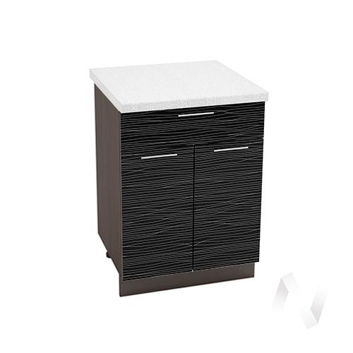 """Кухня """"Валерия-М"""": Шкаф нижний с ящиком 600, ШН1Я 600 М (Страйп черный/корпус венге)"""