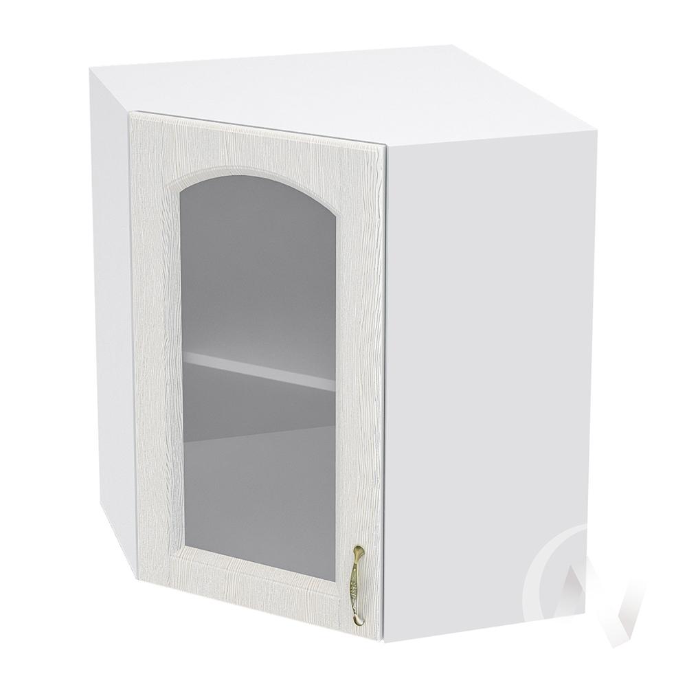 """Кухня """"Верона"""": Шкаф верхний угловой со стеклом 590, ШВУС 590 (ясень золотистый/корпус белый)"""