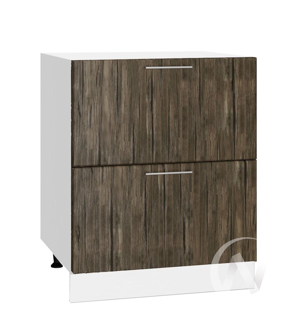 """Кухня """"Норден"""": Шкаф нижний с 2-мя ящиками 600, ШН2Я 600 (старое дерево/корпус белый)"""