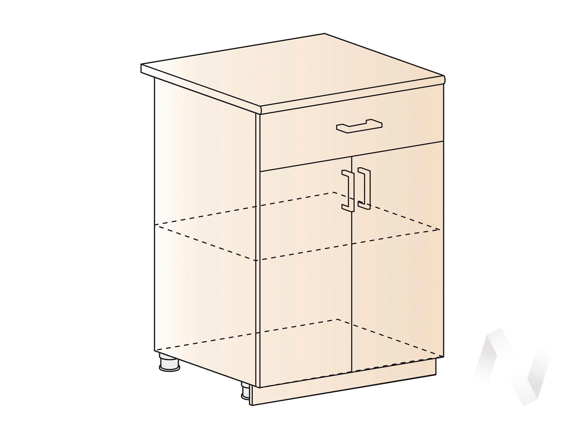 """Кухня """"Струна"""": Шкаф нижний с ящиком 600, ШН1Я 600 М (фиолетовый металлик/корпус венге) в Новосибирске в интернет-магазине мебели kuhnya54.ru"""