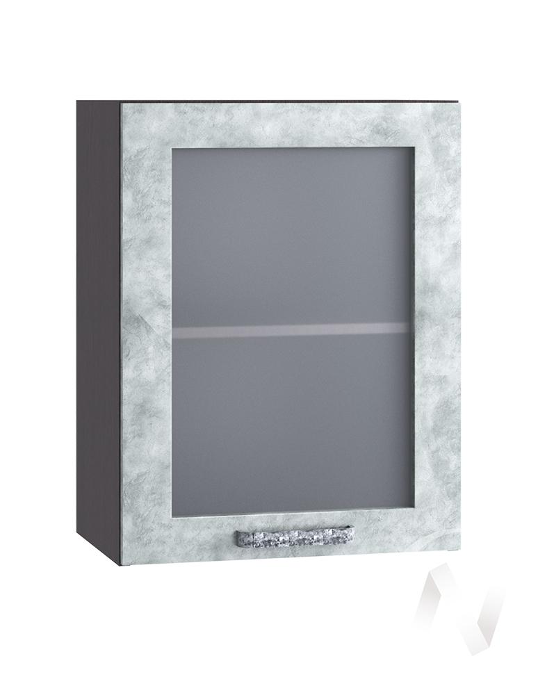 "Кухня ""Лофт"": Шкаф верхний со стеклом 500, ШВС 500 (Бетон серый/корпус венге)"
