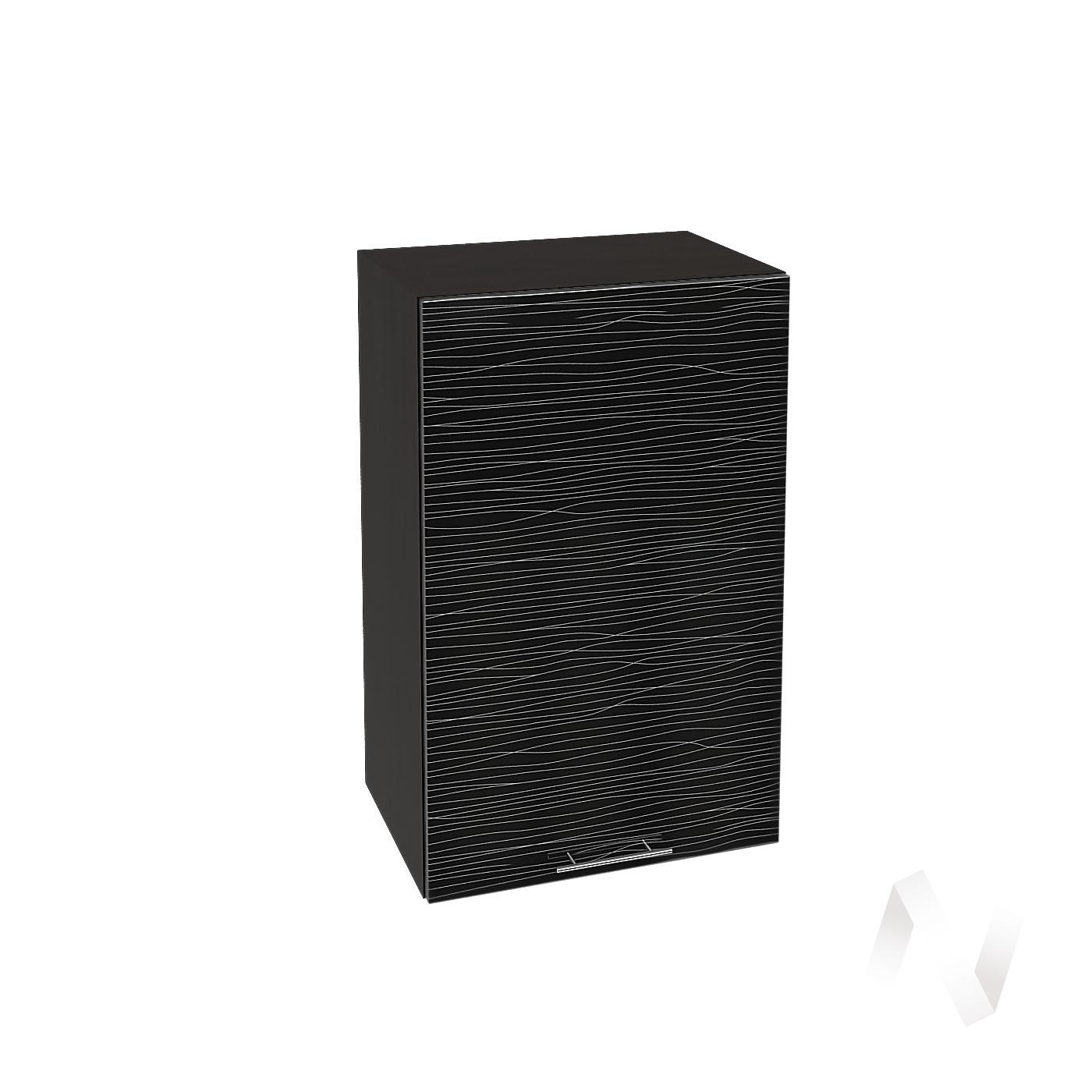 """Кухня """"Валерия-М"""": Шкаф верхний 450, ШВ 450 (Страйп черный/корпус венге)"""