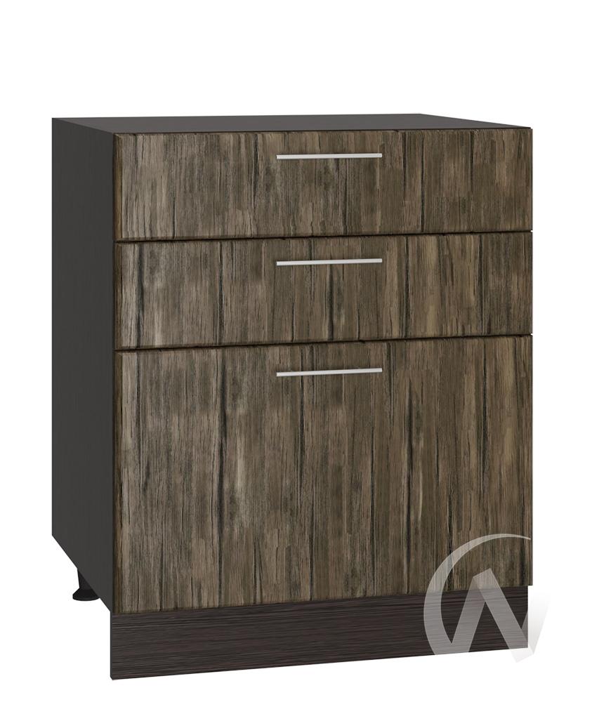 """Кухня """"Норден"""": Шкаф нижний с 3-мя ящиками 600, ШН3Я 600 (старое дерево/корпус венге)"""
