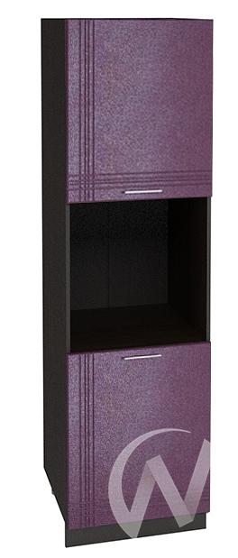 """Кухня """"Струна"""": Шкаф пенал 600, ШП 600 (фиолетовый металлик/корпус венге)"""