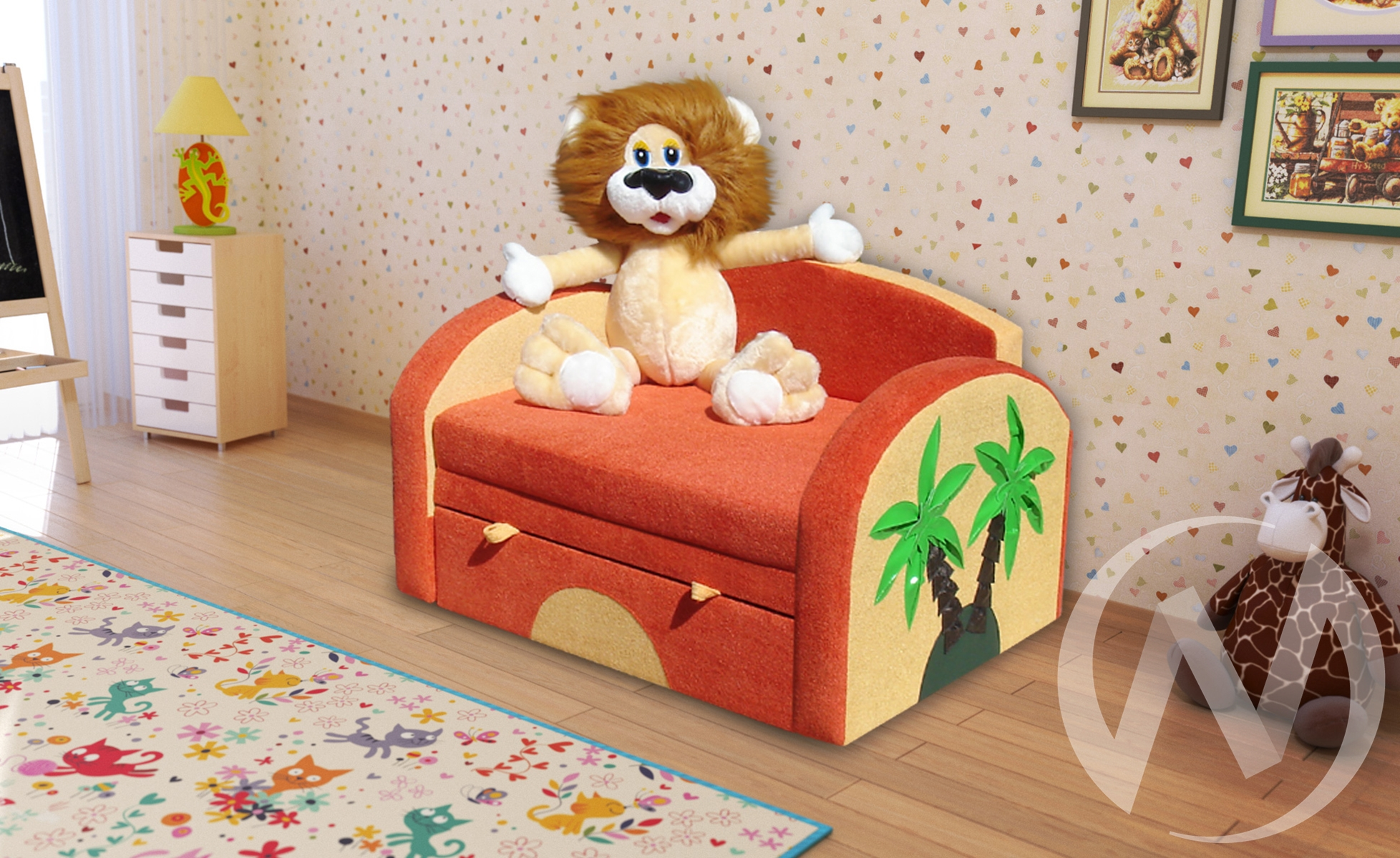 Львенок диван детский