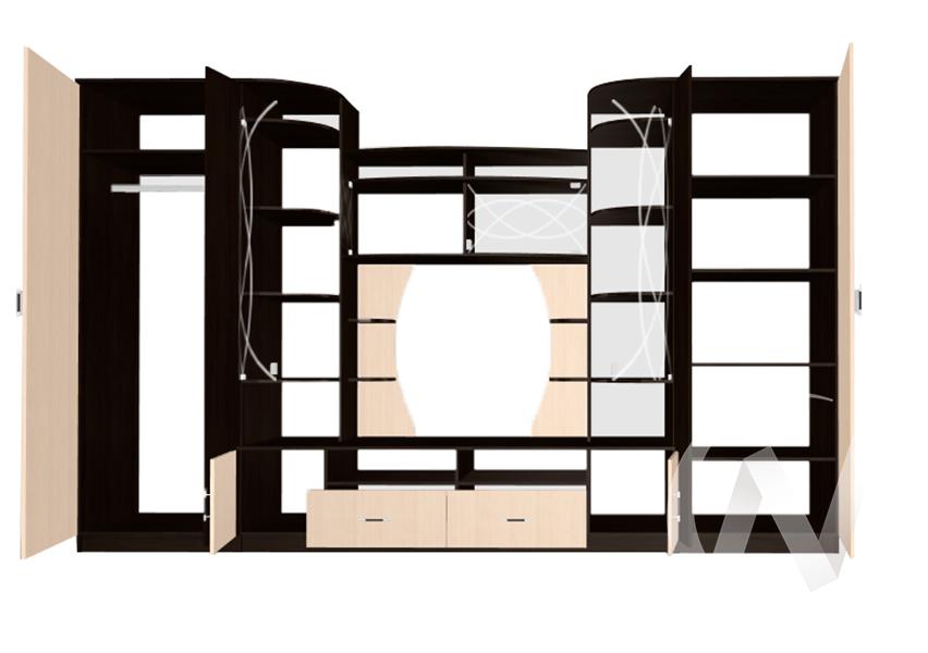 Стенка Венеция-4 (венге/дуб белфорд)  в Новосибирске - интернет магазин Мебельный Проспект