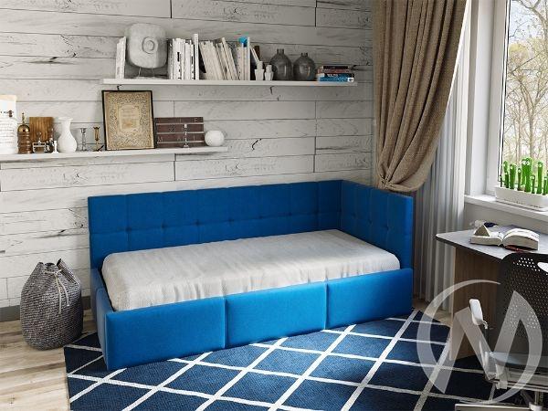 Кровать Оттава 0,9 с подъемным механизмом (синяя)