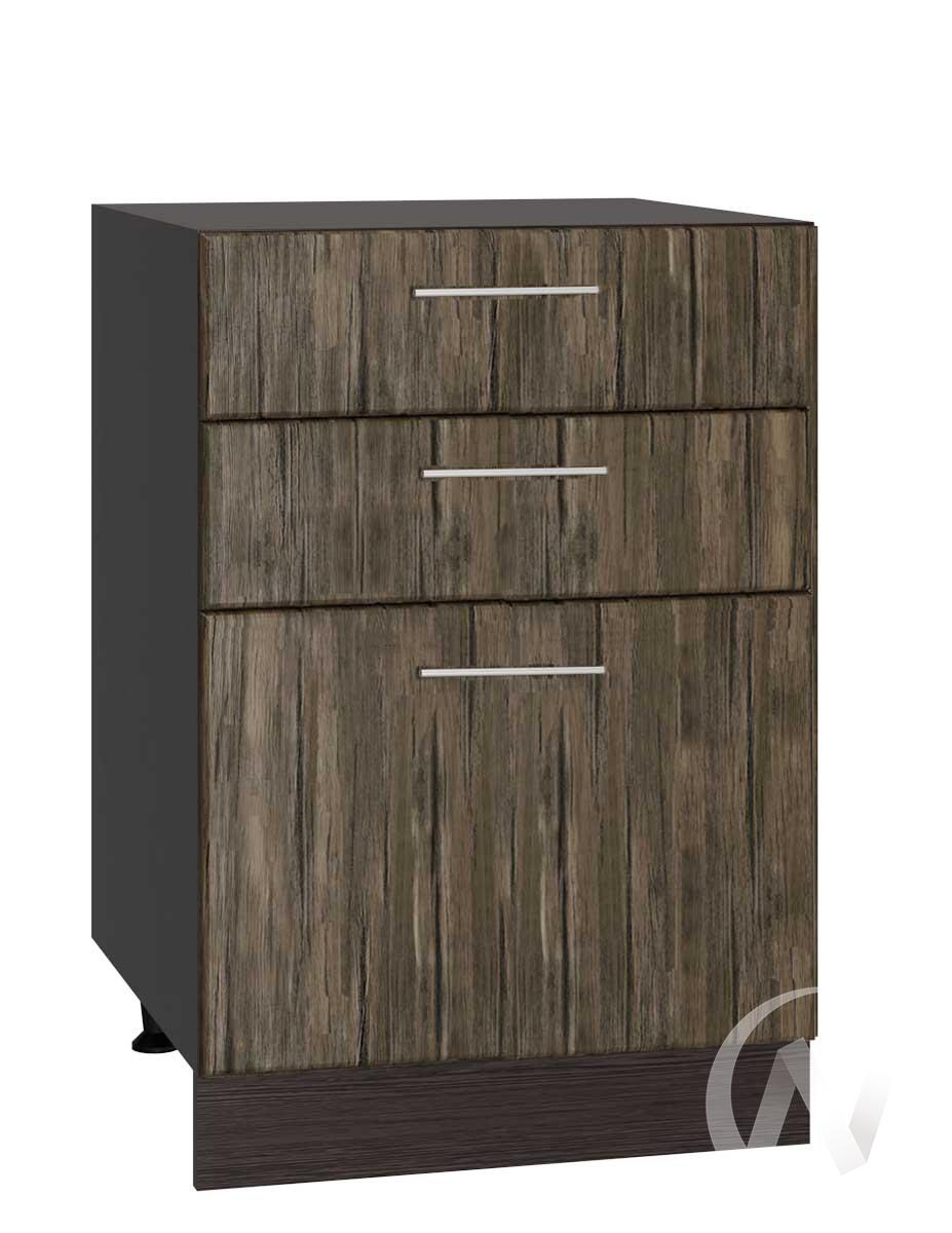 """Кухня """"Норден"""": Шкаф нижний с 3-мя ящиками 500, ШН3Я 500 (старое дерево/корпус венге)"""