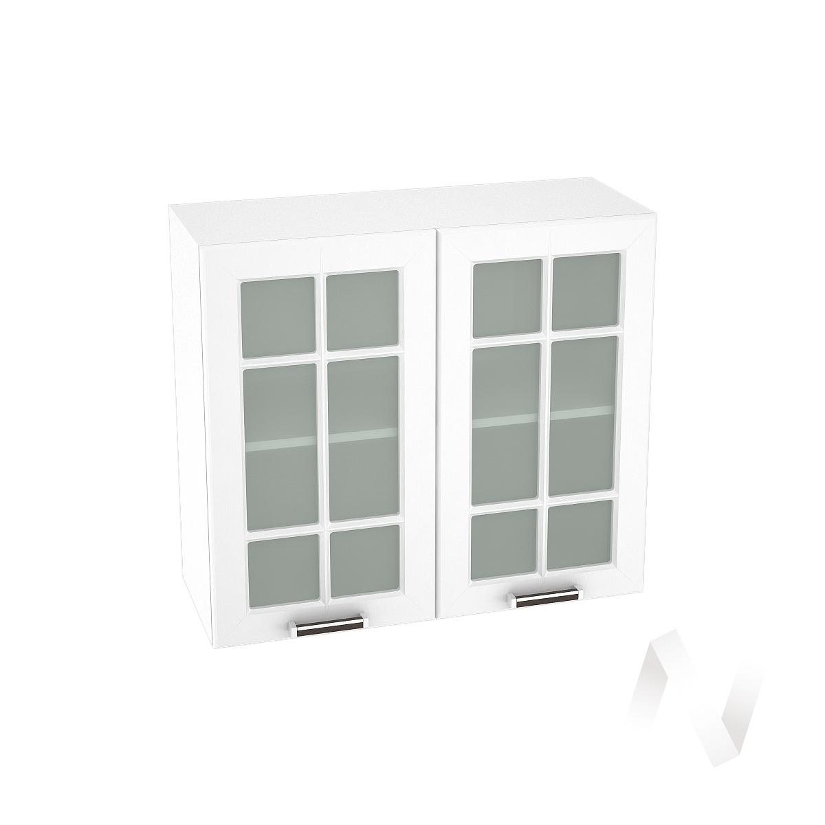 """Кухня """"Прага"""": Шкаф верхний со стеклом 800, ШВС 800 (белое дерево/корпус белый)"""
