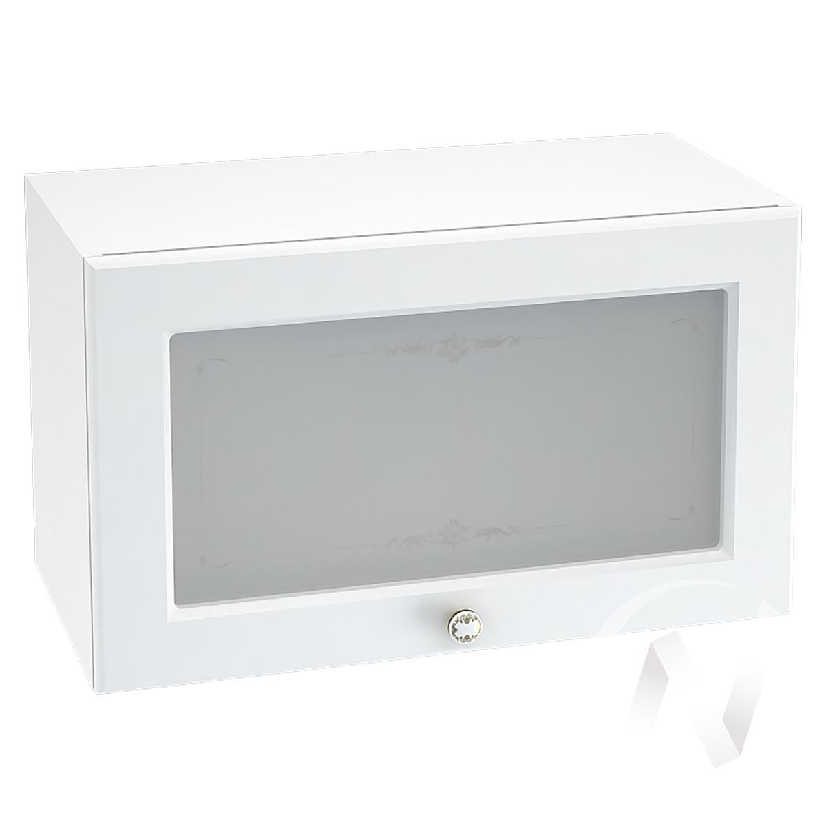 """Кухня """"Шарлиз"""": Шкаф верхний горизонтальный со стеклом 600, ШВГС 600 (корпус белый)"""
