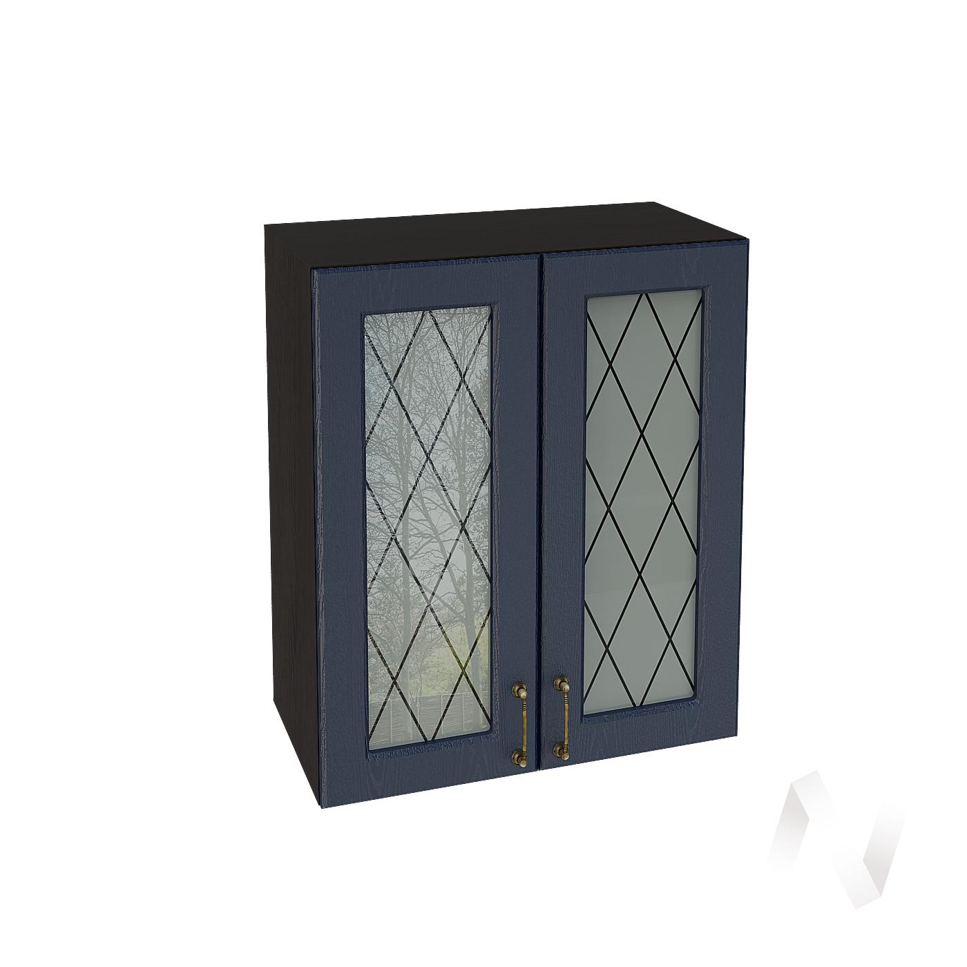 """Кухня """"Ницца"""": Шкаф верхний со стеклом 600, ШВС 600 (Дуб чернильный/корпус венге)"""