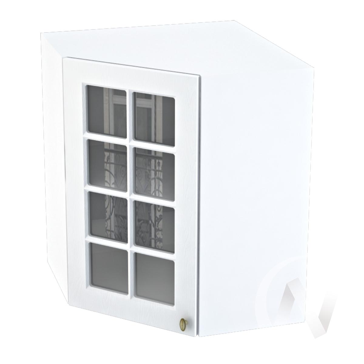 """Кухня """"Прованс"""": Шкаф верхний угловой со стеклом 590, ШВУС 590 (белое дерево/корпус белый)"""