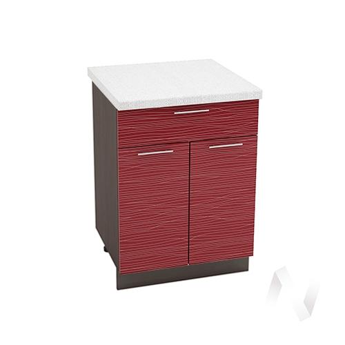 """Кухня """"Валерия-М"""": Шкаф нижний с ящиком 600, ШН1Я 600 М (Страйп красный/корпус венге)"""