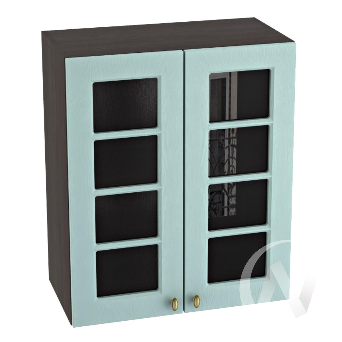 """Кухня """"Прованс"""": Шкаф верхний со стеклом 600, ШВС 600 (голубой/корпус венге)"""