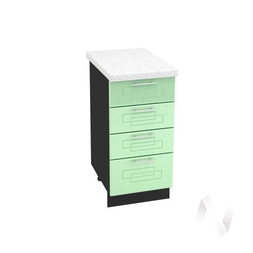 """Кухня """"Вега"""": Шкаф нижний с 4-мя ящиками 400, ШН4Я 400 (салатовый металлик/корпус венге)"""