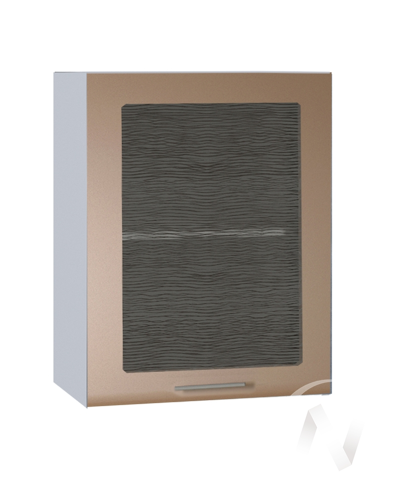 """Кухня """"Люкс"""": Шкаф верхний со стеклом 500, ШВС 500 (Шоколад матовый/корпус белый)"""