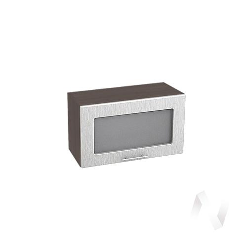 """Кухня """"Валерия-М"""": Шкаф верхний горизонтальный со стеклом 600, ШВГС 600 (дождь серый/корпус венге)"""