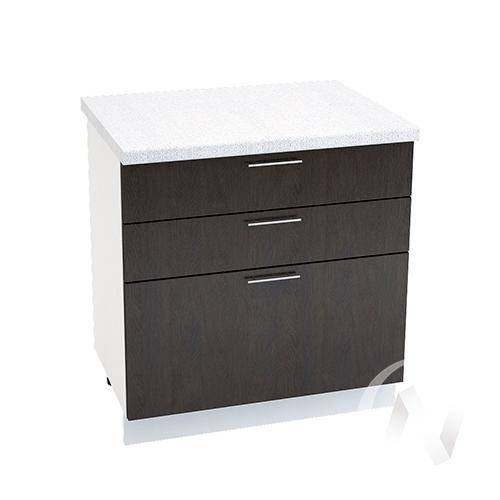 """Кухня """"Валерия-М"""": Шкаф нижний с 3-мя ящиками 800, ШН3Я 800 (венге/корпус белый)"""