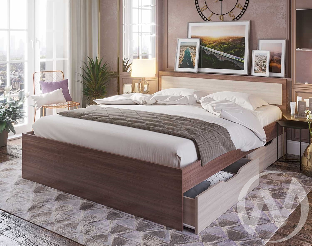 Кровать с ящиками 0,9м КР 608 Спальня Гармония (шимо темный,шимо светлый/шимо светлый)