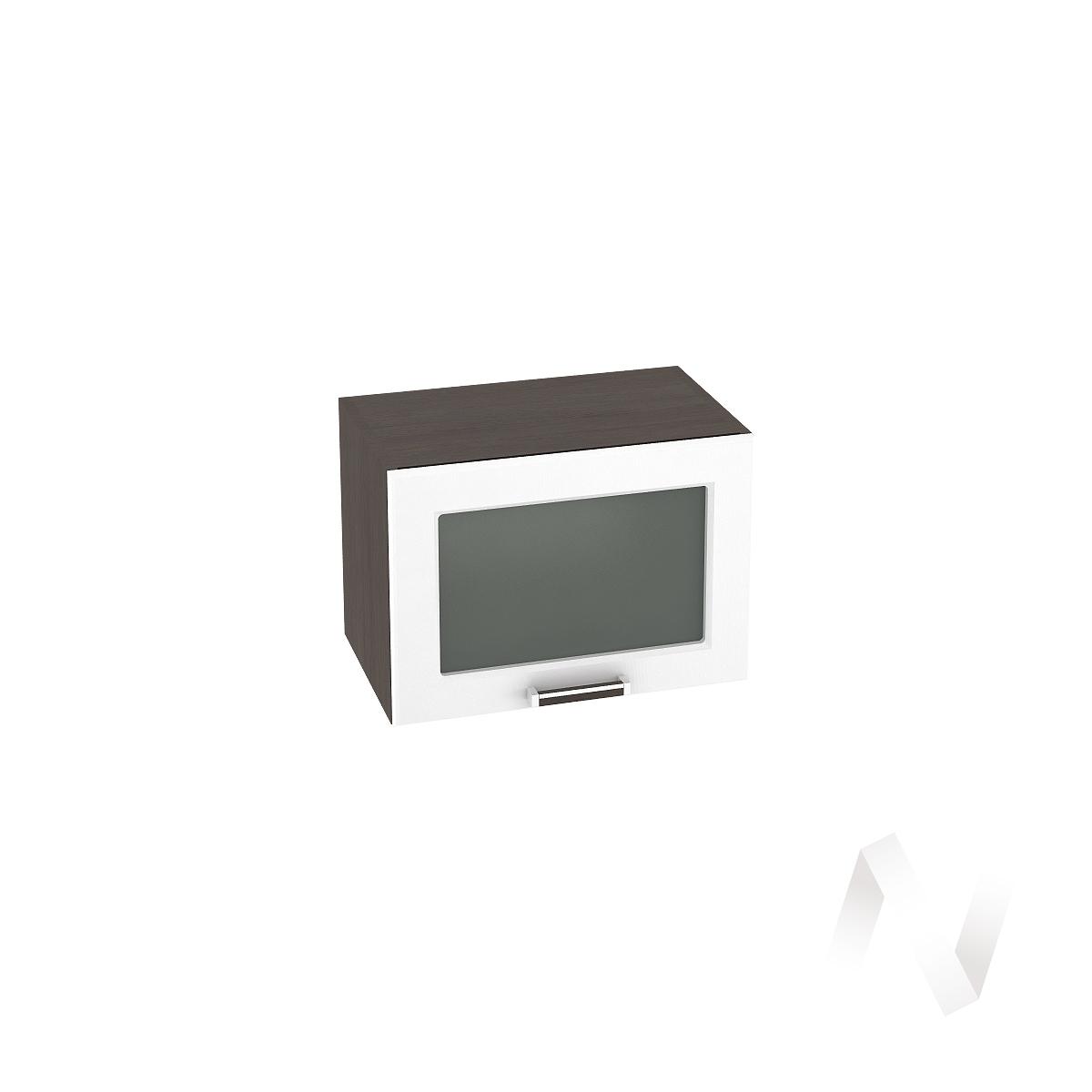 """Кухня """"Прага"""": Шкаф верхний горизонтальный со стеклом 500, ШВГС 500 (белое дерево/корпус венге)"""