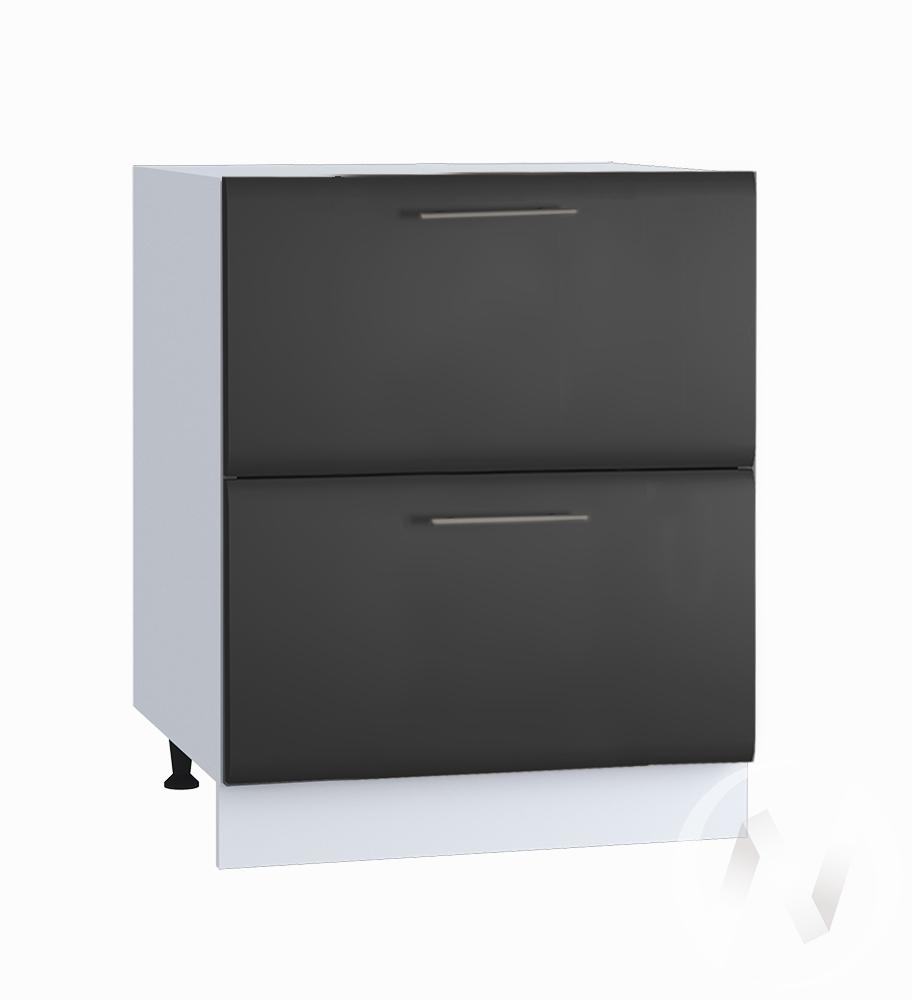 """Кухня """"Люкс"""": Шкаф нижний с 2-мя ящиками 600, ШН2Я 600 (Шелк венге/корпус белый)"""