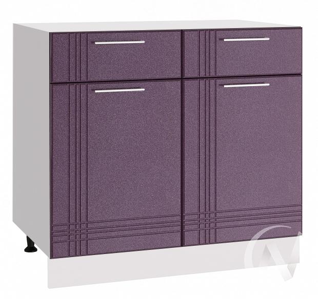 """Кухня """"Струна"""": Шкаф нижний с ящиками 800, ШН1Я 800 (фиолетовый металлик/корпус белый)"""