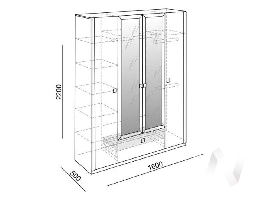 Глэдис М24 Шкаф четырехстворчатый (ясень шимо светлый/белый) в Томске — авторская мебель Экостиль