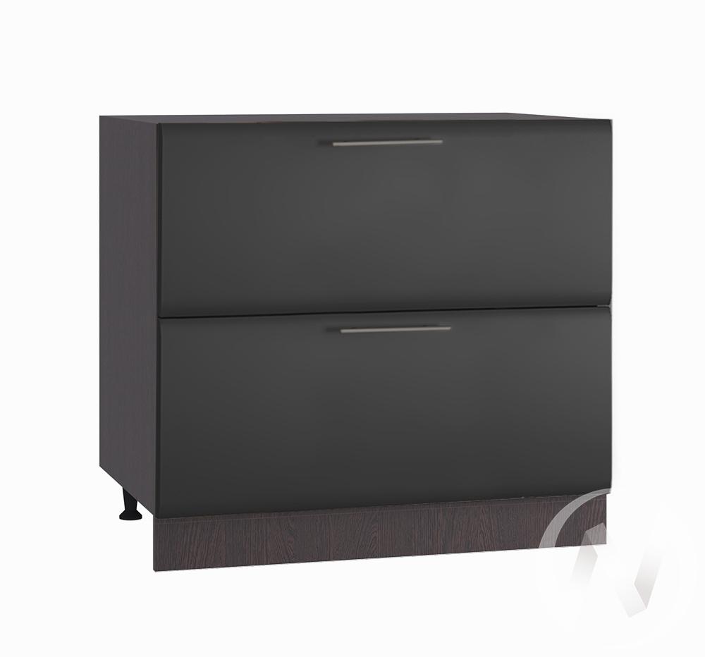 """Кухня """"Люкс"""": Шкаф нижний с 2-мя ящиками 800, ШН2Я 800 (Шелк венге/корпус венге)"""