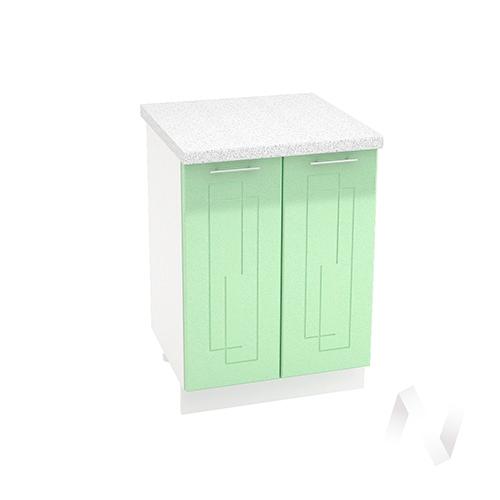 "Кухня ""Вега"": Шкаф нижний 600, ШН 600 (салатовый металлик/корпус белый)"