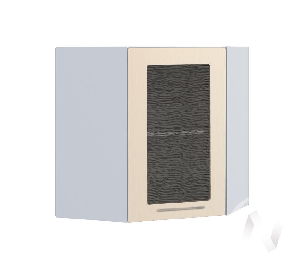 """Кухня """"Люкс"""": Шкаф верхний угловой со стеклом 590, ШВУС 590 (Шелк жемчуг/корпус белый)"""